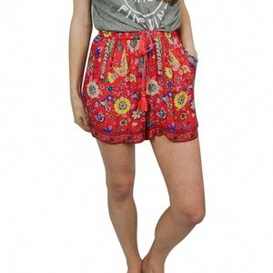 prema red patterned shorts